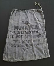 1920's Colorado Springs Monarch Laundry Bag Dry Cleaning Advertising Sign Rare
