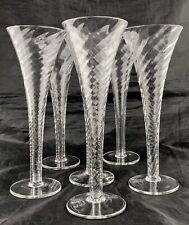 "BEER/COCKTAIL GLASS PILSNER CLEAR SWIRL/TWIST SET 6 BARWARE 8 1/4"" TALL"
