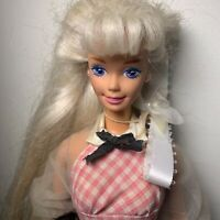 Vintage 1966 Mattel Barbie Doll Vinyl Blonde Hair Blue Eyes Bow Antique Rare