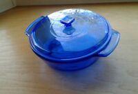 """Anchor Hocking Casserole Cobalt Blue Glass 2 Quart W/Handles & Lid 9"""" Dia"""