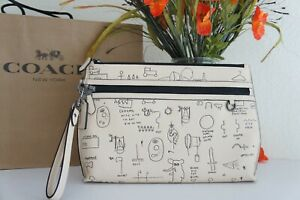 NWT Coach C5452 X Jean-Michel Basquiat Carryall Pouch Leather Ivory Multi $350