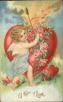 Valentine - Cupid Arrow Blazing Heart Fire c1910 Embossed Postcard