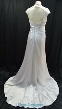 Vintage Wedding Ball gown satin embroidered lace white bridal train dress Sz S M