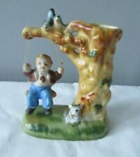 Vintage Little Boy on Tree Swing w/Birds & Dog Vase