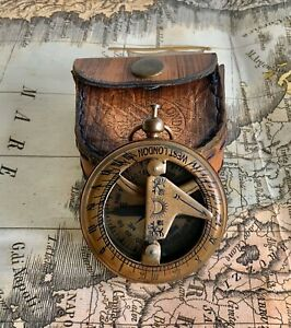 New Sundial Compass Maritime Antique Nautical Gift Item Home Decor Solid Brass