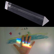 "7.8"" 20cm Optical Glass Triple Triangular Prism Physics Teaching Spectrum up"