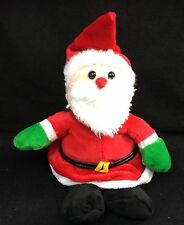 "Santa Claus Christmas Red Black White Green Gloves Plush 9"" Best Made Toy Lovey"