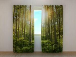 Fotogardine Sonne im Wald, Fotovorhang mit Motiv, Fotodruck, Gardine auf Maß