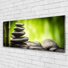 Glasbilder Wandbild Druck auf Glas 125x50 Bambusrohre Steine Blumen Pflanzen