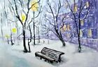 ACEO art card Original winter snow city streets trees landscape painting signed