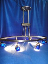 "LARGE 32"" BLUE LUMINAIRE CHANDELIER STEEL MODERN CONTEMPORARY"