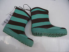 BNWT Little Girls Sz 9 Rivers Doghouse Brand Cute Teal/Choc Mid Length Gumboots