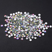 Crystal Clear White AB Flatback Rhinestone Non Hotfix 3D Nail Art Decoration DIY