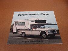 1971 Dodge Camper pickup truck Motorhome R/V Recreational sales brochure