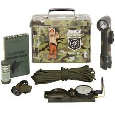 KIDS ARMY EXPLORER KIT AMMO GIFT TIN TORCH WHISTLE COMPASS NOTEPAD BOYS SOLDIER