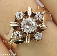 0.69C ANTIQUE VINTAGE VICTORIAN OLD MINE DIAMOND CLUSTER ENGAGEMENT WEDDING RING
