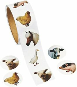 1 Roll - Photo Farm Animal Stickers - 100 Round 1 1/2 Inch Stickers Total - New