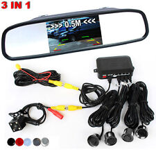 "Car 4 Parking Sensors + 4.3"" Mirror Monitor + 420TVL Camera Rear View Backup Kit"