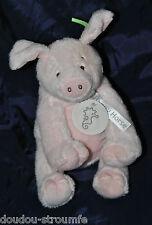 Peluche Doudou Cochon HAPPY HORSE Rose 18 Cm Assis 100% NEUF