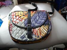 Vera Bradley Quilted Slim Saddle Bag Painted Feathers Shoulder Messenger