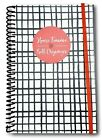 Home Finance & Bill Organizer with Pockets (Black Painted Grid)