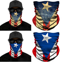 1/2PCS PUERTO RICO Flag Face Mask Neck Gaiter Sun Shield Tube Bandana Headband
