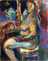 """Ukrainischer Expressionist M. Deyak Öl Leinwand """"Akt"""" 100 x 80 cm"""