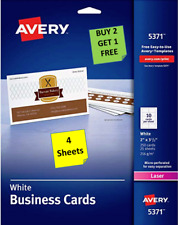 4 Sheets Avery 5371 White Business Cards 2 X 3 12 10 Cards Per Sheet B2g1