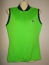 Pearl Izumi Womens Size L Lime Green Trimmed in Blue Athletic Top Sleeveless