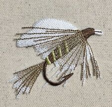 """L - 3"""" Fly Fishing Lure White/Brown Angling Iron on Applique/Embroidered Patch"""