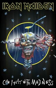 Iron Maiden Can I Play With Madness  fabric poster / flag 1100mm x 750mm (rz)
