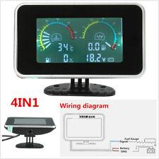 12V/24V Universal LCD Car Truck Oil Pressure Water Temp Fuel Gauge Voltage Meter