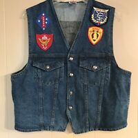 Vintage Biker Denim Vest Marines Veteran Military Patches Blue Jean Motorcycle