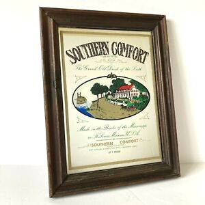 Vintage Southern Comfort Mirror Framed Bar Graphic Brewery Advertising 10 X 13