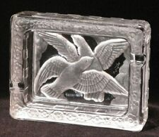 Rare Art Deco Design Lalique France Frosted Glass Double Doves In Flight Ashtray