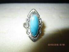 Southwestern Sterling Silver Bell Trading Post Turquoise Scroll Bead Ring Sz 6