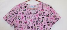 Nurse Scrub Breast Cancer Medium SB Scrubs Pink Ribbons Care Hope Hearts Uniform