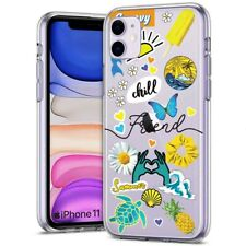 Thin Gel Phone Case for Apple iPhone 11,XS,XR,8 Series,Sticker 12 Chill Print