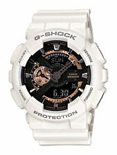 Casio G-Shock Mens Watch, White & Rose Gold, Chronograph, Black Face GA-110RG-7A