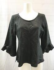 Chalet Womens 100% Linen 3/4 Bell Sleeve Top Blouse Black Lagenlook Size L