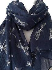 Blue Scarf Silver Dragonfly Print Ladies Large Navy Blue Wrap Dark Blue Shawl