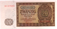1948 Germany Communist DDR 20 Mark Banknote UNCIRCULATED