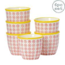 Flower Plant Pot Ceramic Porcelain Indoor Outdoor Garden - Red / Yellow Swirl x6