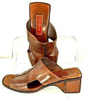 Cole Haan Studio Mule Women 7.5B Brown Leather Peep Toe Slip On Clog Shoe Brazil