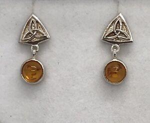 Sterling Silver Amber Celtic Drop Earrings