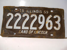 plaque immatriculation  usa 1959 illinois   license plate old americaine
