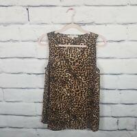 Daniel Rainn Women's Medium Tank Cheetah Print Sleeveless Front Pleat