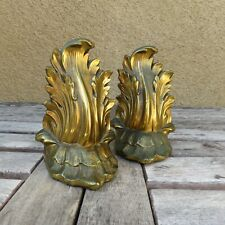 """Vintage Mid Century Modern """"NOUVEAU LEAF"""" Bronze Bookends (92B) Made In USA Pair"""