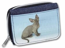 Blue Grey Devon Rex Kitten Cat Girls/Ladies Denim Purse Wallet Christm, AC-175JW