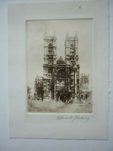 Edward Cherry, Etching of Westminster Abbey, pencil signed